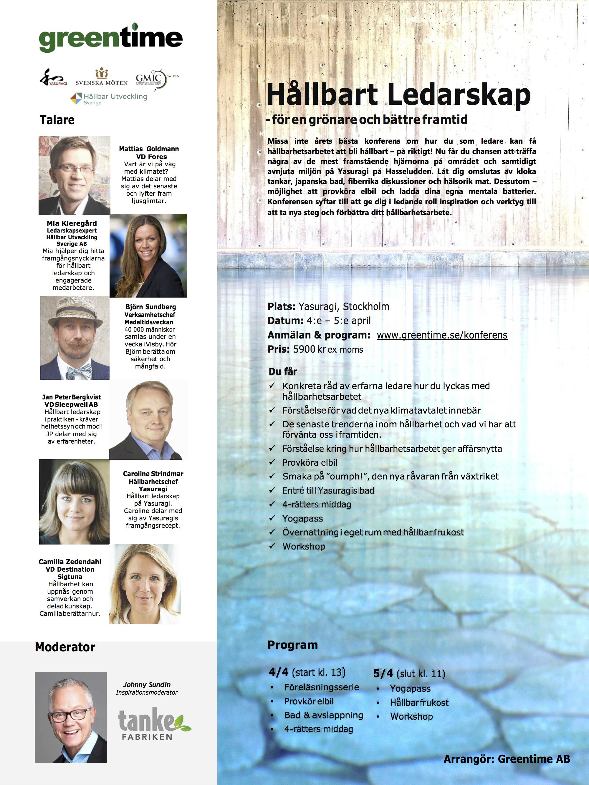 Inbjudan Greentime konferens Hållbart Ledarskap